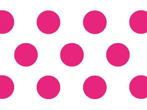 "Raspberry Polka Dots Tissue Paper, 20x30"", Bulk 240 Sheet Pack"