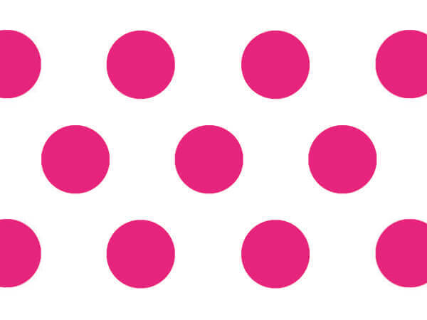 "Raspberry Polka Dots Tissue Paper, 20x30"", Bulk 120 Sheet Pack"
