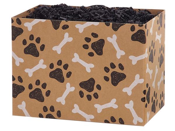"Paws and Bones Kraft Basket Box Large 10.25x6x7.5"", 6 Pack"