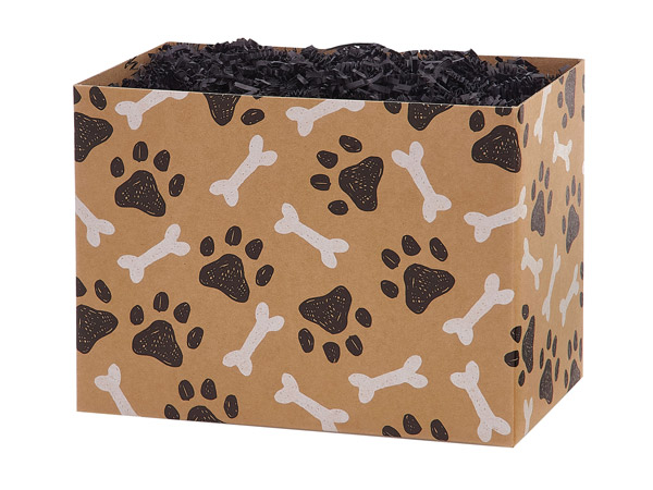 "Paws and Bones Kraft Basket Box Small 6.75x4x5"", 6 Pack"
