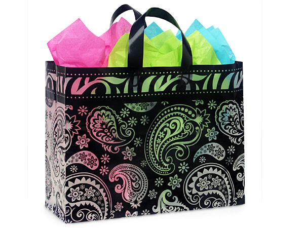 "Paisley Flourish Plastic Gift Bags, Vogue 16x6x12"", 100 Pack, 3 mil"