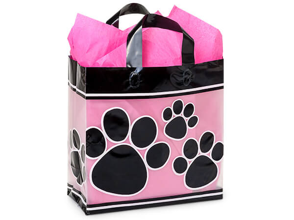 "Paw Print Plastic Gift Bags, Market 12x6x12"", 100 Pack, 3 mil"