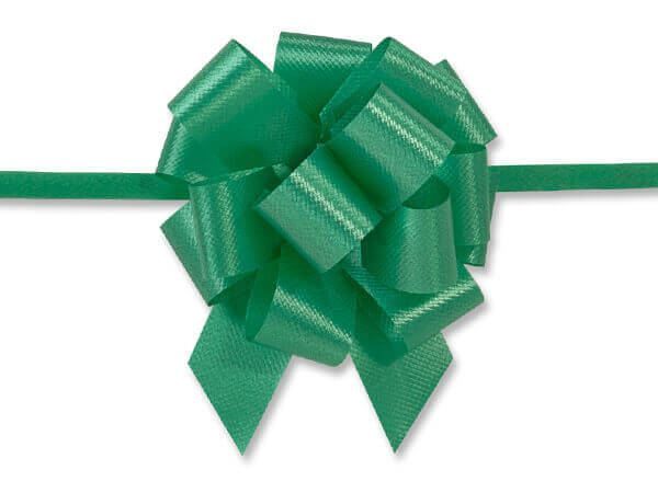 "2-1/2"" Emerald Green Flora Satin Pull Bows, 10 pack"