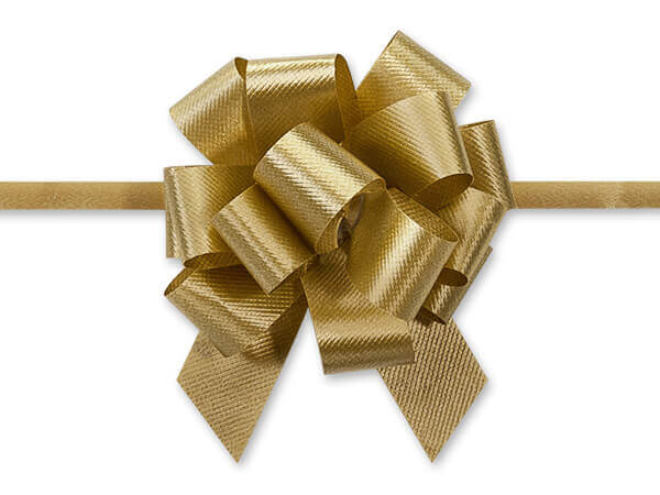 """2-1/2"""" Holiday Gold Flora Satin Pull Bows, 10 pack"""