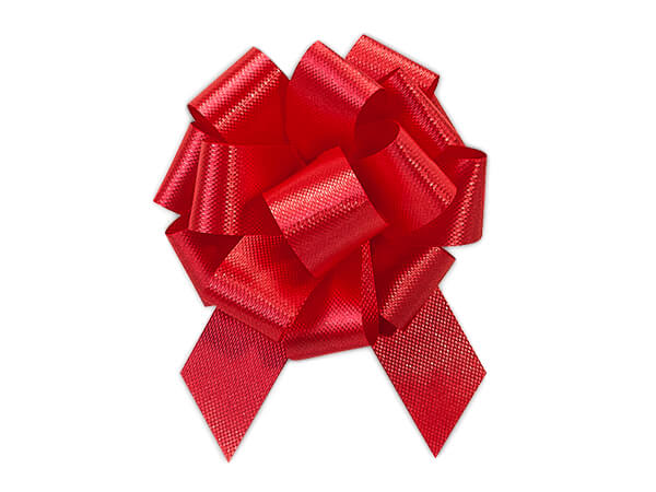 """2-1/2"""" Hot Red Flora Satin Pull Bows, 50 Pack"""