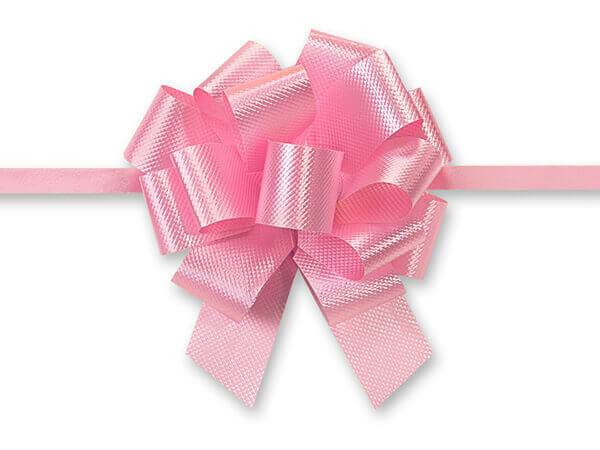 """2-1/2"""" Baby Pink Flora Satin Pull Bows, 10 pack"""