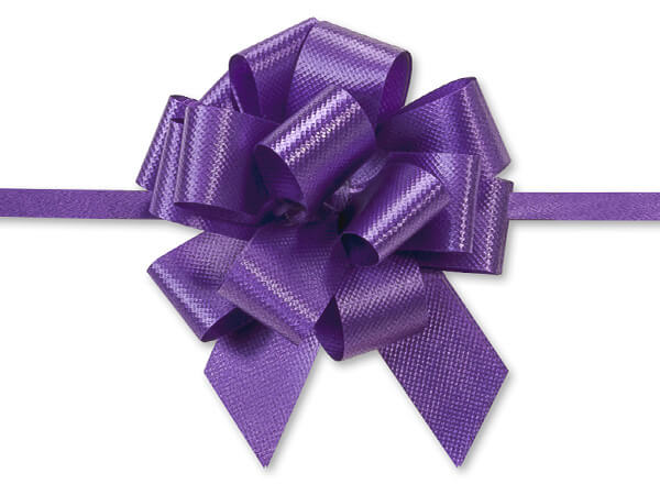"2-1/2"" Purple Flora Satin Pull Bows, 50 pack"
