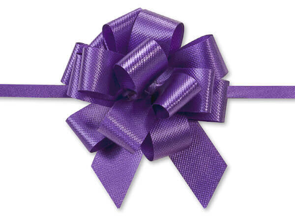 "2-1/2"" Purple Flora Satin Pull Bows, 10 pack"