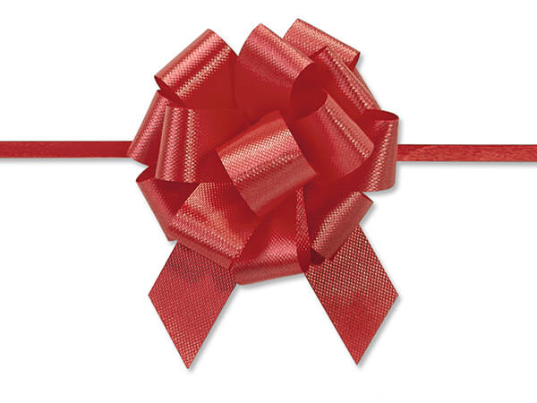 "2-1/2"" Red Flora Satin Pull Bows, 50 pack"