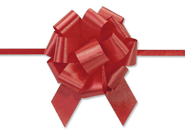 "2-1/2"" Red Flora Satin Pull Bows, 10 pack"
