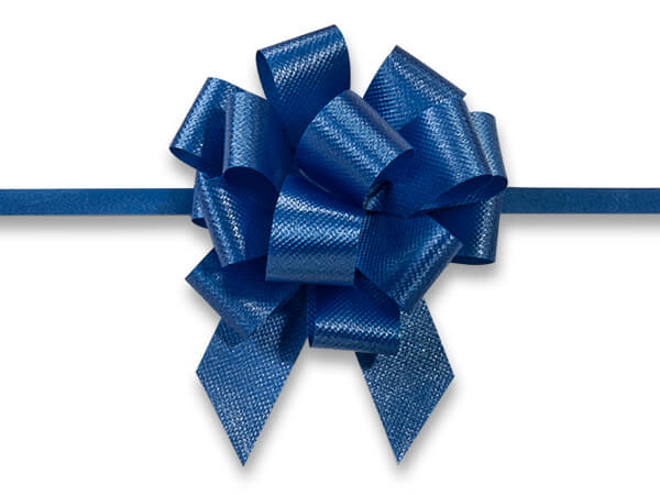 "Royal Blue Flora Satin 2.5"" Pull Bows 14 Loops"
