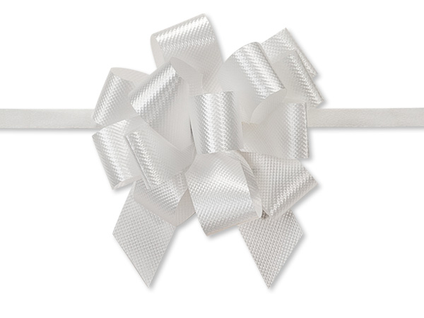 "White Flora Satin 2.5"" Pull Bows 14 Loops"
