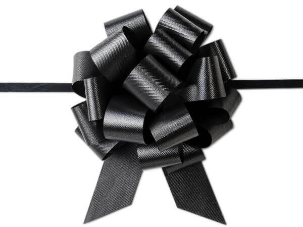 "4"" Black Flora Satin Pull Bows, 10 pack"