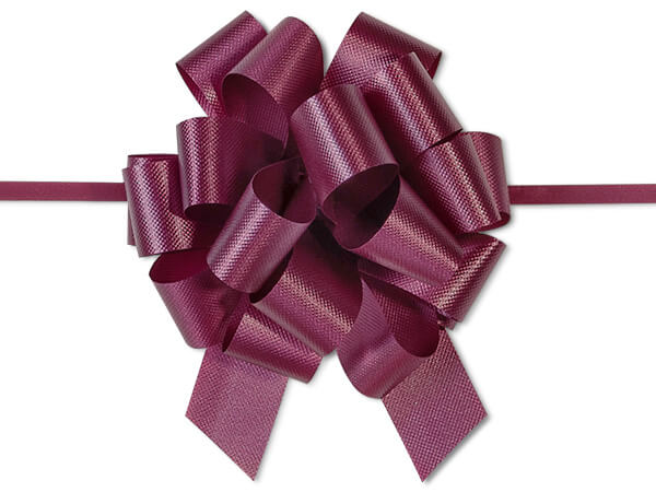 "Burgundy Flora Satin 4"" Pull Bows 18 Loops"