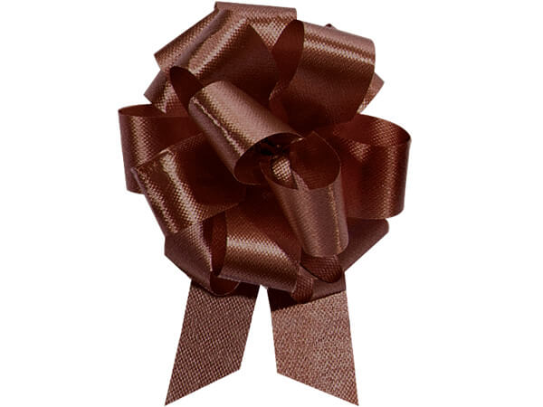 "4"" Chocolate Flora Satin Pull Bows, 50 pack"