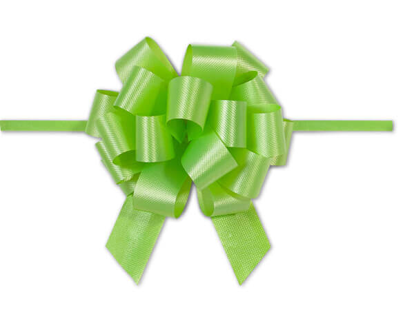 "4"" Citrus Green Flora Satin Pull Bows, 10 pack"