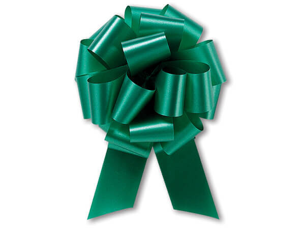 """4"""" Emerald Green Flora Satin Pull Bows, 10 pack"""