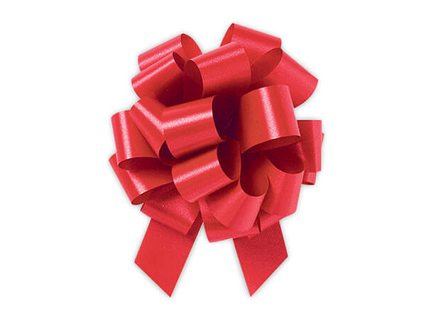 "4"" Hot Red Flora Satin Pull Bows, 50 Pack"