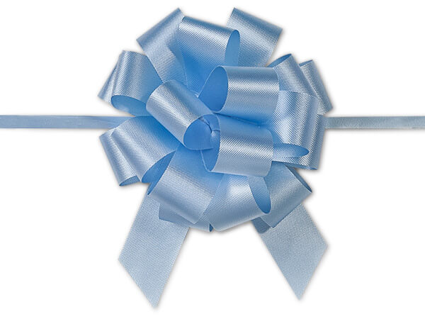 "Light Blue Flora Satin 4"" Pull Bows 18 Loops"