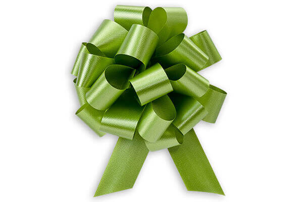 "4"" Leaf Green Flora Satin Pull Bows, 10 pack"