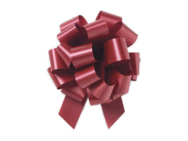 "4""  Marsala Maroon Flora Satin Pull Bows, 50 pack"