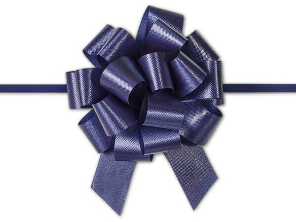"4"" Navy Blue Flora Satin Pull Bows, 10 pack"