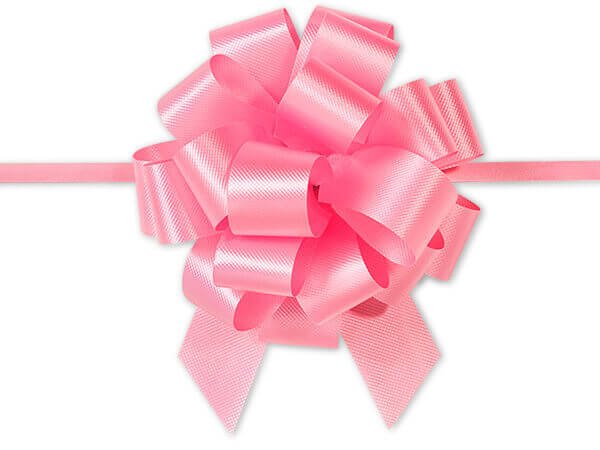 "4"" Baby Pink Flora Satin Pull Bows, 10 pack"