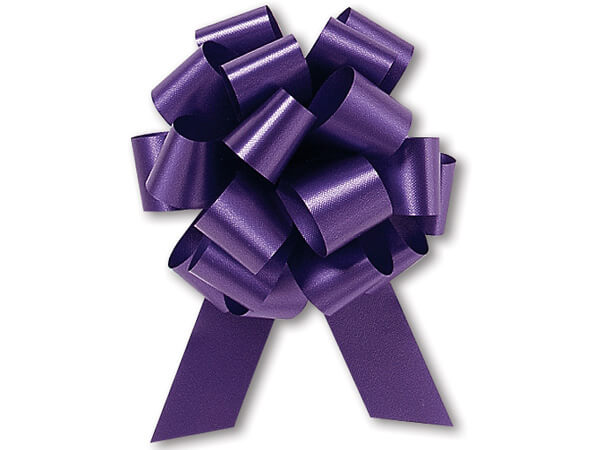 "4"" Purple Flora Satin Pull Bows, 50 pack"