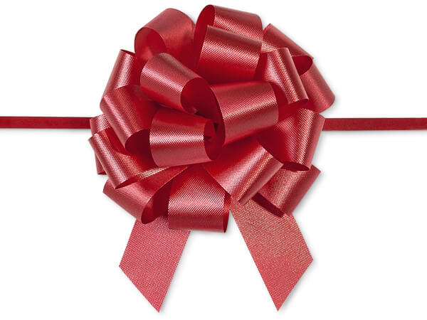 "Red Flora Satin 4"" Pull Bows 18 Loops"