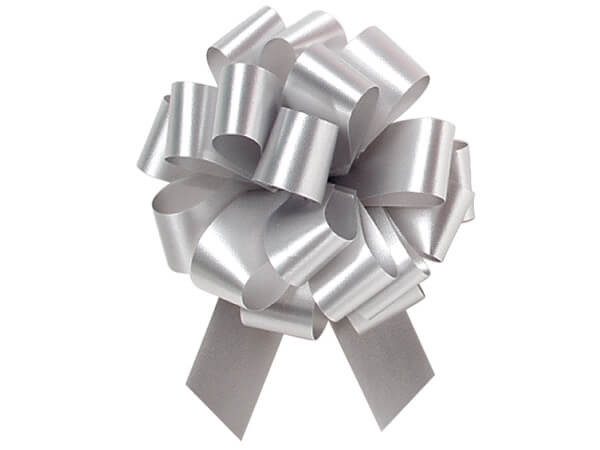 """4"""" Silver Flora Satin Pull Bows, 10 pack"""