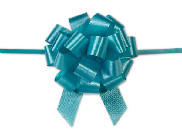 "4"" Turquoise Flora Satin Pull Bows, 10 pack"
