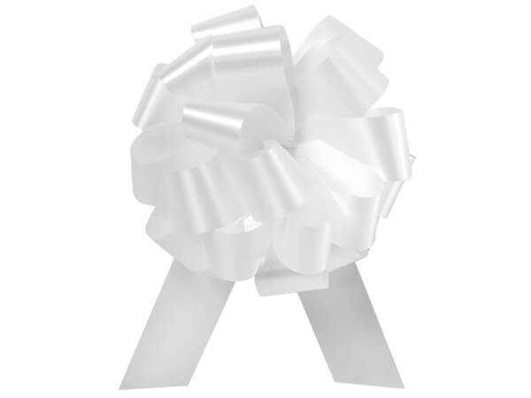 "4"" White Flora Satin Pull Bows, 10 pack"