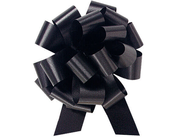 "5-1/2"" Black Flora Satin Pull Bows, 10 pack"