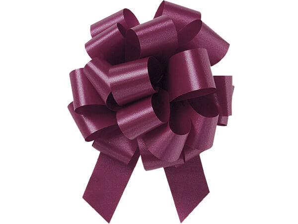 "5-1/2"" Burgundy Flora Satin Pull Bows, 50 pack"