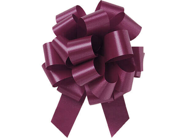 "5-1/2"" Burgundy Flora Satin Pull Bows, 10 pack"
