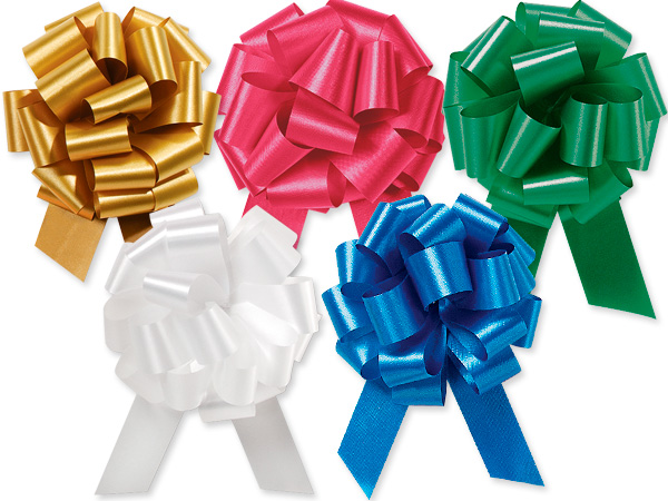"Christmas Assortment 5.5"" Pull Bows Emerald, H.Gold, Red, White, Royal"