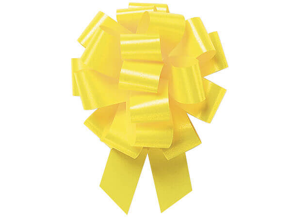 """5-1/2"""" Yellow Daffodil Flora Satin Pull Bows, 10 pack"""