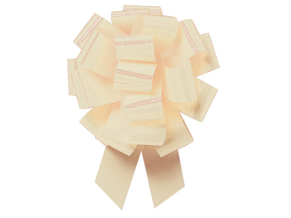 "Eggshell Flora Satin 5.5"" Pull Bow 20 Loops"