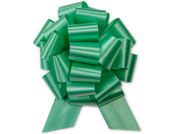 """5-1/2"""" Emerald Green Flora Satin Pull Bows, 10 pack"""
