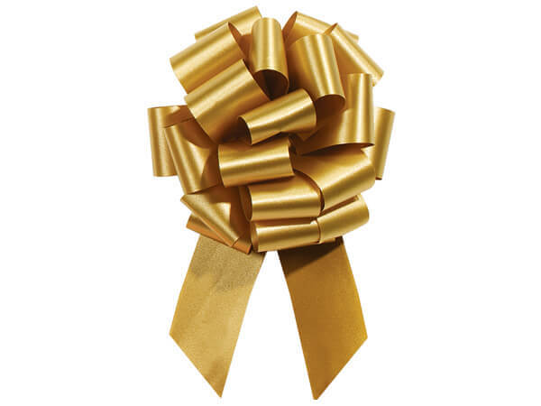 """5-1/2"""" Holiday Gold Flora Satin Pull Bows, 10 pack"""