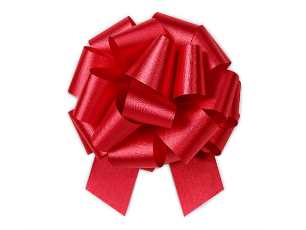 "5-1/2"" Hot Red Flora Satin Pull Bows, 50 Pack"