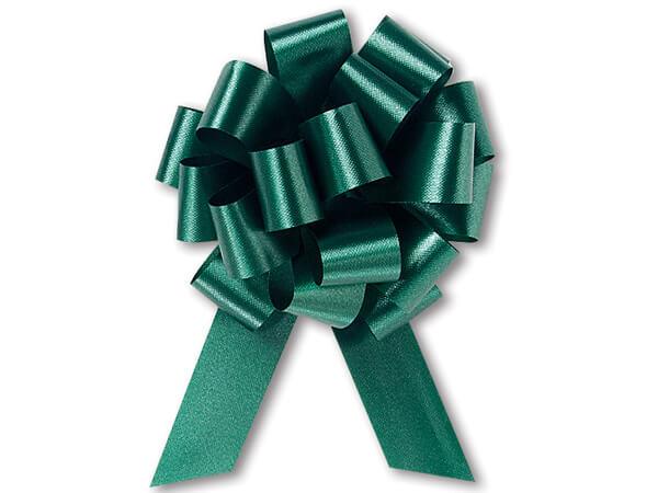 "5-1/2"" Hunter Green Flora Satin Pull Bows, 10 pack"