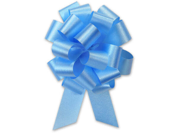 "5-1/2"" Light Blue Flora Satin Pull Bows, 10 pack"