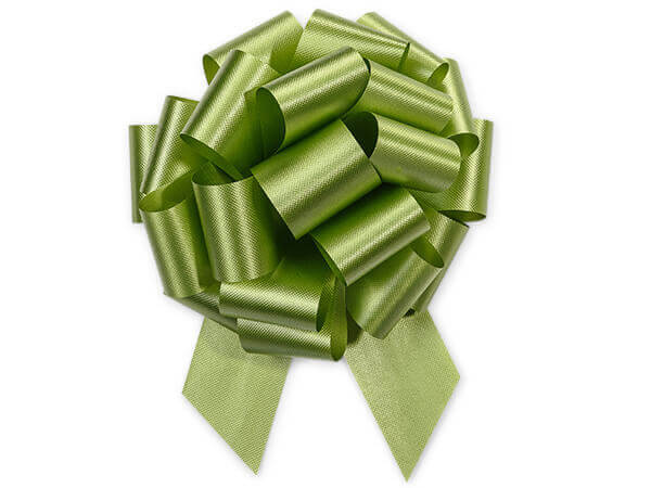 "Leaf Green Flora Satin 5.5"" Bows 20 Loops"