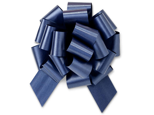"""5-1/2"""" Navy Blue Flora Satin Pull Bows, 10 pack"""