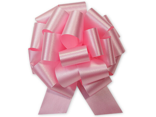 """5-1/2"""" Baby Pink Flora Satin Pull Bows, 10 pack"""