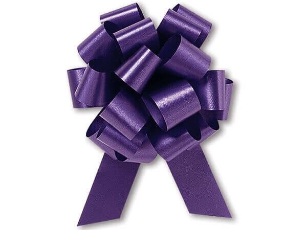 "5-1/2"" Purple Flora Satin Pull Bows, 50 pack"