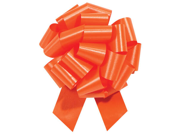 "5-1/2"" Tropical Orange Flora Satin Pull Bows, 10 pack"