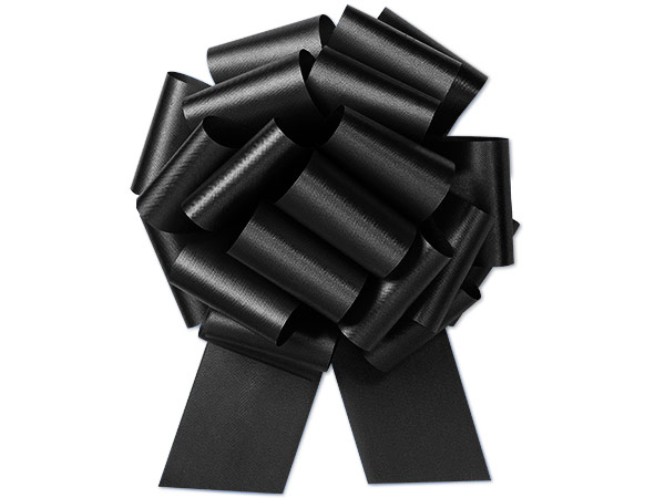 "8"" Black Flora Satin Pull Bows, 10 pack"