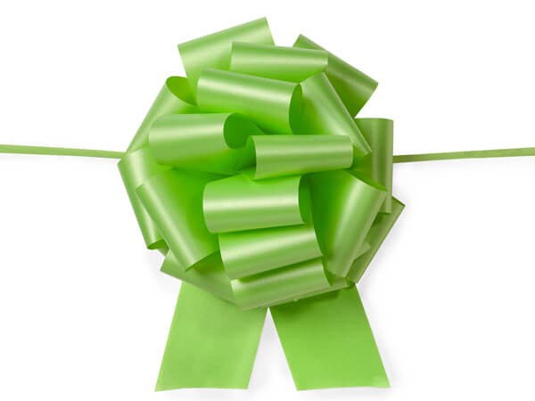"*8"" Citrus Green Flora Satin Pull Bows, 10 pack"